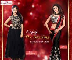 Dazzle the Party Tonight with Stunning Ethnic Wear  For More Visit : www.drapeethnic.com  #EthnicWear #Partywear #Saree #Gown #Party #Red #Black  #DrapeEthnic