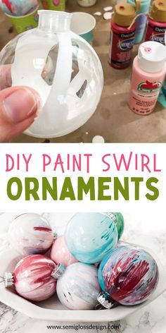 Easy Paint Swirl Ornaments for Christmas