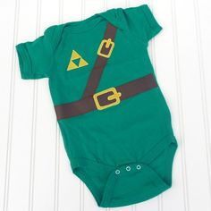 Great Halloween costume or Baby Shower gift READY TO SHIP Onesie  Inspired by Legend of Zelda, Link sewn cotton applique on Etsy, $14.00