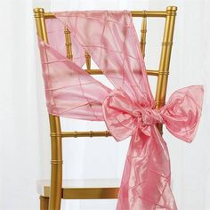 """5 PCS Pink Pintuck Chair Sashes Catering Wedding Party Decorations - 7x108"""""""