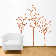 These Three Little Tree decals are a great way to bring a bit of nature indoors! Our wall decals are ideal for offices, living rooms, entryways, classrooms, even your car or glass shower doors! www.dalidecals.com #walldecals #dalidecals
