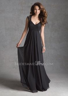 Classic Black Lace Blue Bridesmaid Gown