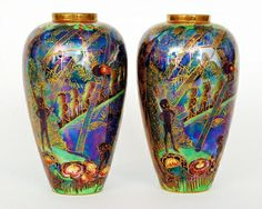 A pair of Wedgwood Fairyland Lustre vases by Daisy Makeig Jones circa 1920 of sh. A pair of Wedgwood Fairyland Lustre vases by Daisy Makeig Jones circa 1920 of shouldered ovoid form with shal Art Decor, Sculpture Art, Art Style, Fantasy Landscape, Glass Ceramic, Art, Pottery Art, China Painting, Fairy Land