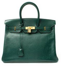 Hermes Green Leather Birkin 35 Vintage Large Satchel