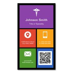 pharmacy medical symbol colorful tiles qr code business card - Pharmacy Business Cards
