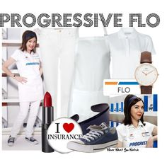 Inspired by Progressive Insurance cashier Flo from their advertising campaigns.