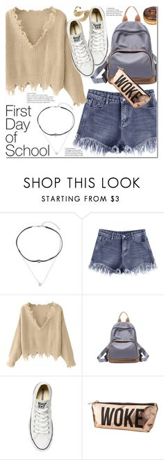 """""""Campus Chic: First Day of School"""" by duma-duma ❤ liked on Polyvore featuring Converse, Charlotte Russe and BackToSchool"""