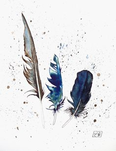 Feathers original watercolor illustration blue and brown. via Etsy. Feather Drawing, Watercolor Feather, Feather Painting, Feather Art, Pen And Watercolor, Watercolor Artists, Watercolor Illustration, Watercolor Paintings, Drawing Sketches