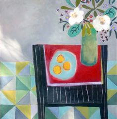 """Daily Painters Abstract Gallery: Contemporary Abstract Still Life Art Painting """"Easy to Love"""" by Santa Fe Artist Annie O'Brien Gonzales"""