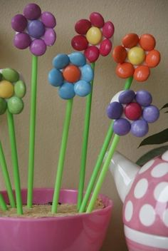 marshmallow and smarties flowers