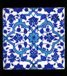 Tile (Tile), late century (made). Tile of blue and turquoise floral geometric pattern; Islamic Tiles, Islamic Art, Marble Art, Tile Art, Blue Pottery Jaipur, Indian Ceramics, Collages, Stone Coffee Table, Indian Blue