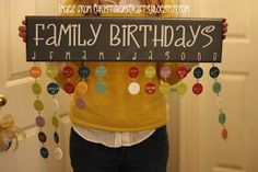Family birthdays - add holidays or special events to the board to remember to send cards and such!