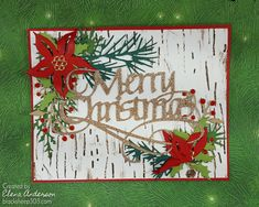 Festive foliage Christmas Card using Tim Holtz Festive Greens, Mini Holiday Greens dies and Birch Embossing folder. Christmas Cards 2017, Stamped Christmas Cards, Stampin Up Christmas, Xmas Cards, Holiday Cards, Greeting Cards, Fall Cards, Winter Cards, Tim Holtz Dies