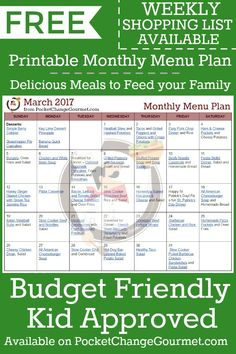MONTHLY MENU PLAN| FREE PRINTABLE | Budget Friendly Meals for your family