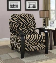 Glamorous Animal Print Accent Chairs Collection : Animal Print Upholstered  Push Back Recliner Coaster Chair Design Inspiration With Dark Bro.