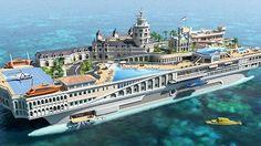 O Iate conceito The Streets of Monaco possui 155 metros de uma ponta a outra e até um submarino para fugas de emergência (Reprodução da internet/gadling.com)