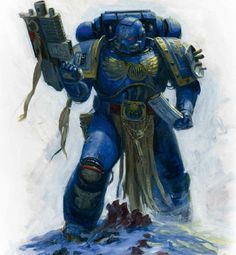 "Ultramarines - A noble Tactical Marine wearing Mk VII (""Aquila"" Pattern) Power Armour, in combat, reloading his Bolter"