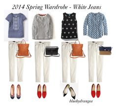"""""""Spring Wardrobe - White Jeans"""" by bluehydrangea ❤ liked on Polyvore featuring Boden, J.Crew, Pim + Larkin, H&M, Kate Spade and Madewell"""