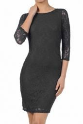 Date Night 3/4 Sleeve Lace Bodycon Dress in Black #dress #dresses #boutique