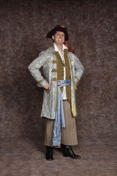 $30.00 Costume Rental   Pirate #2  long green vest, blue coat w/green trim, brown stripe pants, shirt, blue sash