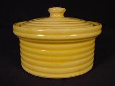 4.375in tall (top of lid) x 6.5in wide 1920s RARE SMALL McCOY RINGS BUTTER CROCK