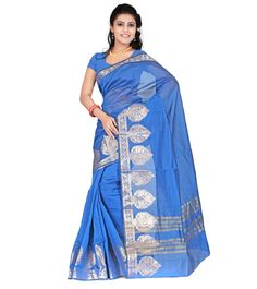 Blue Zari Work Chanderi Cotton Silk Saree #indianroots #saree #chanderi #silk #cotton #zariwork #summerwear #eveningwear #partywear