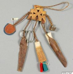 """/sewing tuels, Viking style. Called bälteshäng"""" in swedish""""  .   I love this idea of carrying your stuff with you. Have tried recreate this style from North Swedish Lapplandish deerhorn part"""