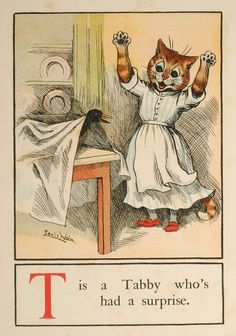 """T is a Tabby who's had a surprise"" from A Cat Alphabet,"" 1913, by Louis Wain."