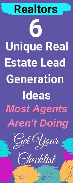 Use these 6 UNIQUE Real Estate Lead Generation Ideas and have buyers and sellers calling YOU. Real Estate Career, Real Estate Leads, Real Estate Business, Selling Real Estate, Real Estate Tips, Real Estate Investing, Real Estate Buyer's Agent, Real Estate Agents, Real Estate Buyers