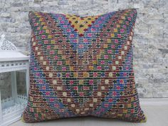 anatolian nomadic embroidery kilim pillow 20x20 by ZDkilimspillow