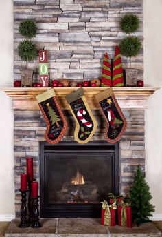 Photo Backdrops Christmas Fireplace Colorful Socks by katehome2014