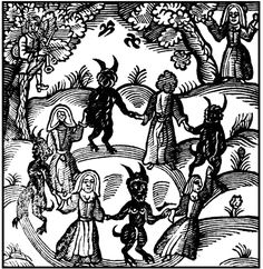 Witches and demons creating a circle, Nathaniel Crouch, The Kingdom of Darkness, 1688
