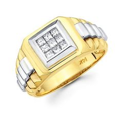 Princess Cut Channel Set 14k Two Tone Gold Mens Watch Diamond Ring Band .44ct (G-H, I1) - Jewelry For Her