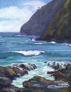 "MAKAPU'U BEACH Original Plein Air Oil Painting Art Artwork Ocean Waves Paradise Lighthouse Oahu Hawaii Hawaiian Cliff Shore Surf: $150:: 11""x8.5"""