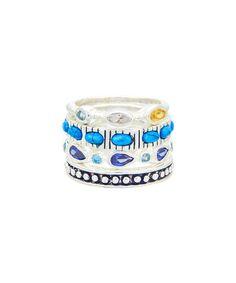 Look at this #zulilyfind! Turquoise & Cubic Zirconia Malta Stackable Ring Set #zulilyfinds