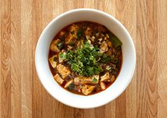 Mapo Tofu: Tofu isn't just for vegetarian dishes. Chef Danny Bowien's take on a traditional recipe combines it with slow-cooked, fall-apart pork shoulder in a spicy, chile-laced sauce.
