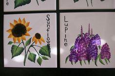Painted Tiles Garden Series: Wildflowers por flachriscreations