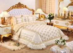 Avangarde bedroom suite, all with wooden hand-carved gold foil-coated