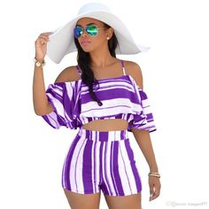 3fa3a76f33 Sexy Women Two Piece Set Stripe Spaghetti Strap Off the Shoulder Ruffle  Crop Top High Waist Shorts Clothing 2018 Summer Suits