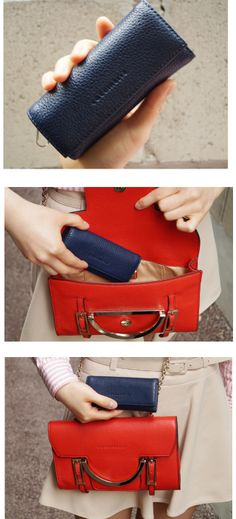 COCCINELLE COCCINELLE Navy Key Holer Wallet  CELESTE Red Clutch Bag / 코치넬리 체인백_클러치백
