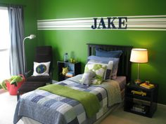 BOYS GREEN BEDROOM, This is my 8 year-old sons bedroom redo. With previous post help, I have chosen the bedding after picking the wall color first- big no, no! Here is what have done so far. Looking for a rug with green on it. Sugestions welcome!, View of the room from the bedroom door.       , Boys Rooms Design
