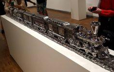 Jeff Koons Artist Retrospective Exhibition Jim Beam J.B. Turner Train Sculpture Whitney Museum Of American Art New York