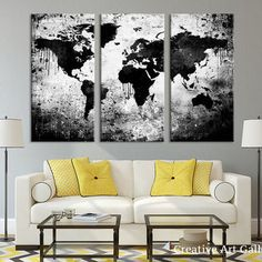 World map wall art world map decor map decor gold foil map of large triptych art black white world map canvas print large world map wall art gumiabroncs