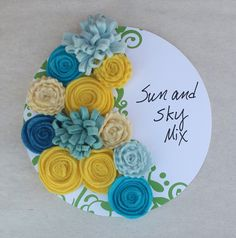 Yellow and Blue Felt Flowers Sun and Sky by TheBakersDaughterToo