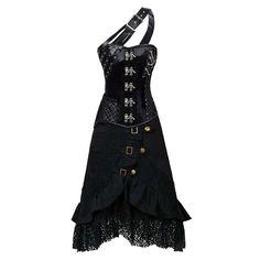 Steampunk black steel boned corset