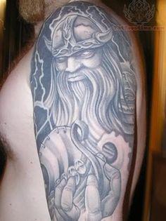 com img src http www tattoostime com images 184 big viking tattoo Warrior Tattoo Sleeve, Viking Warrior Tattoos, Sleeve Tattoos, Thor Hammer Tattoo, Norse Mythology Tattoo, Tattoo Designs, Tattoo Ideas, Thors Hammer, Barbarian
