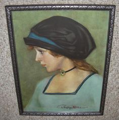 Excellent Old 1913 Print of Lovely Young Lady Wearing Bonnet Signed Penrhyn Stanlaws in Gorgeous Old Art Deco Frame With Original Old Glass by AntiqueFramedPrints on Etsy