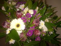 Mixed flower bouquet purple white with Protea (AFG-Worldwide South-Africa) Flower Bouquets, Flowers, South Africa, Purple, Plants, Floral Bouquets, Florals, Purple Stuff, Planters