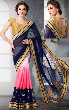 Picture of Luscious Blue and Pink Saree with Designer Blouse
