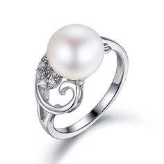 I&zuan S925 Sterling Silver Ring White Cultured Freshwater Diameter 9~10mm Pearl Trendy Ring Of Fine Jewelry For Women #Affiliate